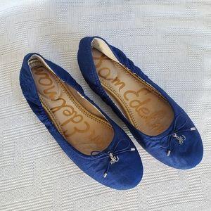 Sam Edelman Felicia Ballet Flat Blue Silk Sz 7.5